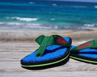 Blue Coral Flip Flops