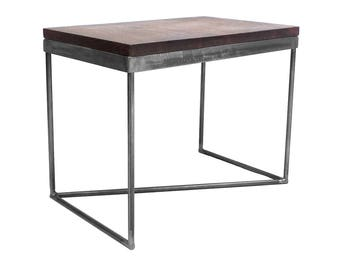 Solid English Ash Console/Side Table with Round Bar Steel Base - Rustic/Industrial/Unique/Urban/Retro/Modern