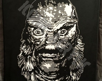 """99. 12X12 PRINT of """"The Gill Man"""" from Creature from the Black Lagoon-1954"""