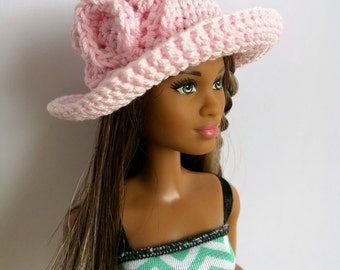Pink Barbie doll cloche hat, fashion doll hat, clothes