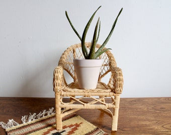 CLEARANCE ** Boho Mini Wicker Chair Plant Stand, Small Wicker Chair Doll Chair, Bohemian, Retro 70s