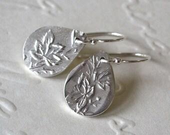Sterling Silver Maple Leaf Teardrop Hook Earrings. Maple Leaf Earrings. Sterling Silver Teardrop Earrings. Drop Hook Earrings.