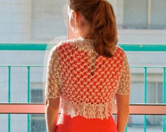 Crochet white lace wedding bolero. Bridesmaid jacket.