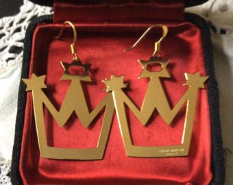 RARE GEORG JENSEN Earrings-Great Carved Crown-Gold-Plated Signed Georg Jensen Denmark-Vintage - Beautiful Earrings