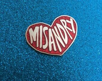 MISANDRY Heart RED GLITTER Enamel Pin