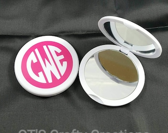 Monogrammed Compact Pocket  Mirror