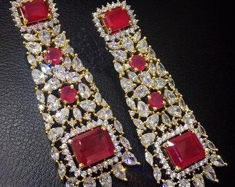 Ruby or Neelam & Crystal Earrings