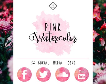 Pink Watercolor Social Media Network Icons - Blog Icon Web Buttons Follow Button Blogging Blogger Painted Website Instagram Facebook Twitter