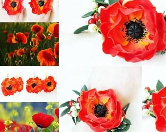 poppy ring, poppy earrings, poppy bracelet, flower ring, gift ring, flower jewelery, poppy jewelry, engagement ring, graduation jewelery