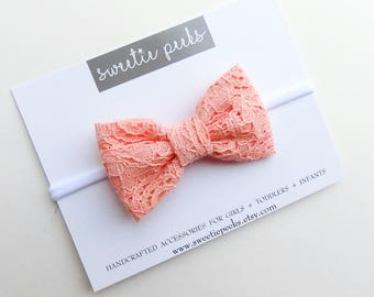 Coral Lace Hair Bow | Girls Cotton Hair Bow | Lace Hair Bow | Girls Hair Accessory | Baby Hair Bow | Toddler Hair Bow | Spring Hair Bow