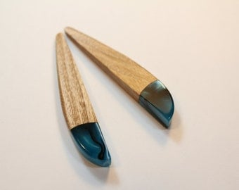 Marbled acrylic and oak earings