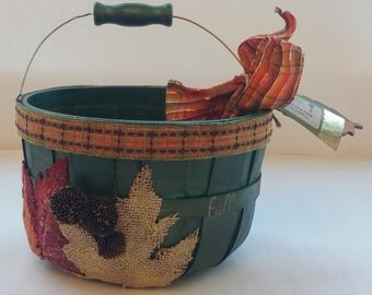 """Fall Small Wooden Gift Basket Planter Centerpiece """"GREEN"""""""