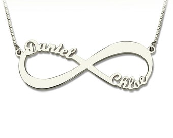 Custom-made Infinity Necklace Two Name sterling silver Necklace