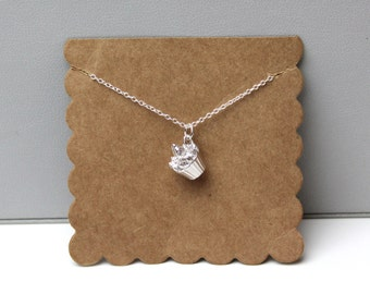 Silver Cupcake Necklace // dainty sterling silver necklace // with gift packaging