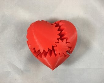 Valentines Day Heart Gears Steampunk Fidget Stress Toy - 3D Printed