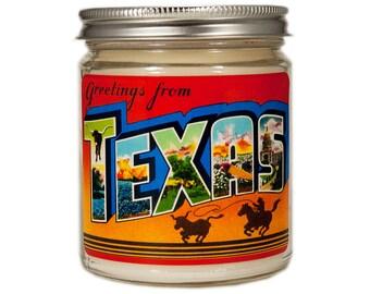 Texas Candle, Texas Gift, Custom Scented Candle, Container Candle, Soy Candle, Vintage Texas, Candle Gift, Texas Postcard, Texas Decor