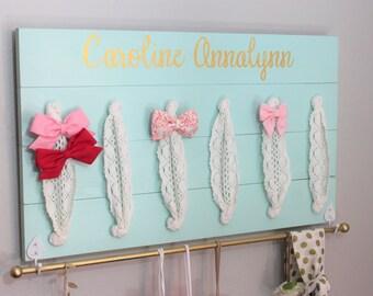 Hair Bow Holder Hair Bow Organizer Mint Nursery Decor Girls Personalized Nursery Decor Girl Baby Shower Gift Toddler Girl Gift  Bow Holder