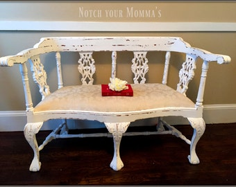 White hand carved wooden Settee/ Pure White/Annie Sloan/ hand painted distressed