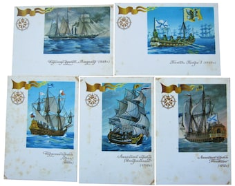 Set of 5 postcards History of russian fleet Sailing ship Marine schooner sailboat Maritime collectibles Buy postcard Cheap postcard