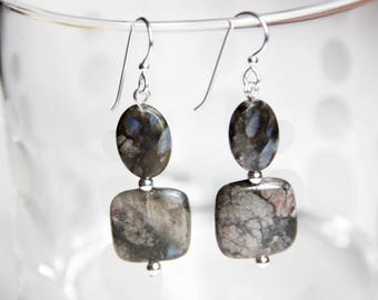 Rhyolite Earrings with Sterling Silver Beads, Ear Wires and Head Pins