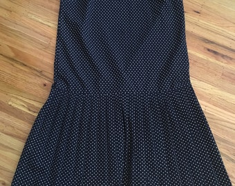 Vintage navy blue polka dot dress - 1980's drop waist dress