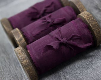 Hand Dyed Silk Ribbon ~ Wedding Ribbon ~ Bouquet Ribbon ~ Invitation Ribbon ~ Gift Wrap Ribbon ~ Bridal Ribbon ~ Purple Ribbon ~ Blackberry