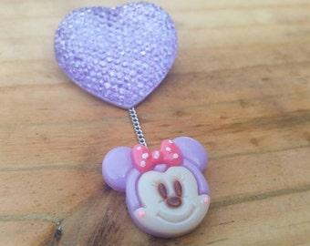 Minnie big purple heart pin, brooch, disney pin, disney brooch, disney jewelry, minnie, mickey