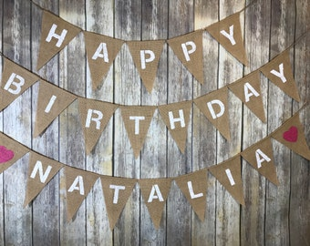 Personalized burlap banner, Personalized birthday banner, Personalized banner, Personalized happy birthday banner girl
