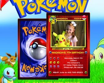 pokemon invitation, pokemon birthday invitation, pokemon birthday, pokemon card, pokemon party, pokemon invite, pokemon go, pokemon Red