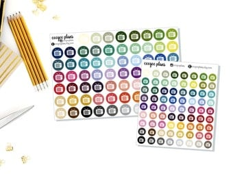 TV Icons | 68 Colorful Planner Stickers