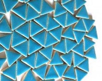 Triangle Ceramic Mosaic Tiles - Thalo Blue - 50g (1.75 oz)