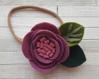 Purple Flower Headband, Pink Flower Headband, Felt Flower Headband, Flower Headband, Girls Headband, Newborn Headband, Felt Headband