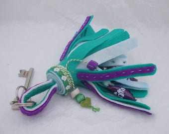 colorful Keychain, bag decoration of felt with bells and Crown caps