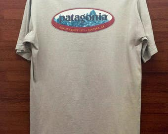 Vintage PATAGONIA Organic Cotton Hiking Gear T Shirt Sz Small Made in Usa