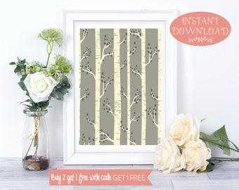 Printable Art, Tree Wall Art, Minimalist Print, Tree Print, Printable, Digital Print, Scandinavian Print, Wall Art Prints, Instant Download