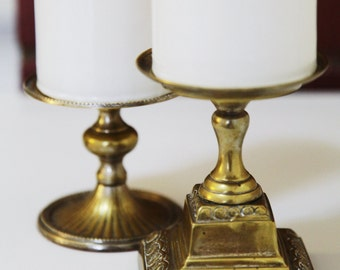 Pair of Vintage Brass Candlesticks by Two's Company