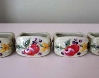 Napkin Rings Holders Porcelain Tracy Porter The Fruitful Tapestry Collection Set Of 4