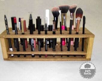Makeup Storage Rack - make up brushes - brush organiser - beauty station - storage - beauty - dressing table organiser - oak - bedroom