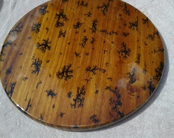 Round Table Top,Handmade,Lichtenberg Fractal,Rustic,Western