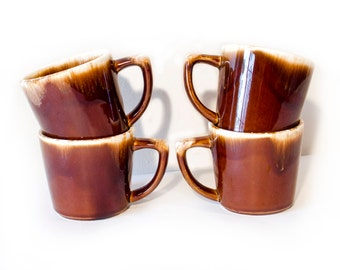 McCoy Pottery Brown Drip Mugs by BigMuddyVintageShop