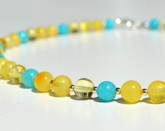 Amber with Turquoise Necklace Baltic amber Jewelry Polished Amber Necklace Natural Amber Beaded Necklace