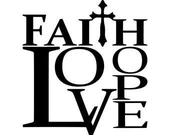 Faith, Hope, Love w/cross – SVG Cut File (mtc, svg, pdf, eps, ai, dxf, png & jpg) ~ DIGIDOWN062