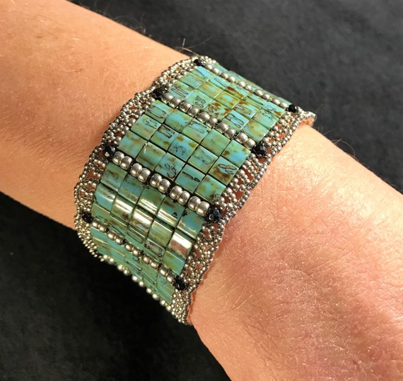 NO 157 Hand Beaded Crystal and Glass Bracelet