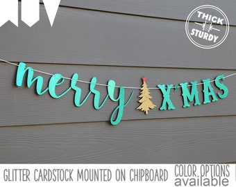 merry X'MAS banner, with christmas tree, christmas decorations, glitter party decorations, cursive banner