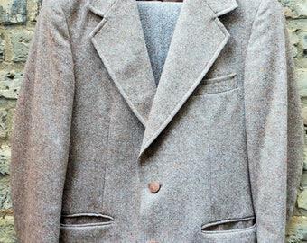 Vintage 1960s Men's Beige Tweed Suit, Jacket UK 36 / Trousers Waist UK 30 Leg 30