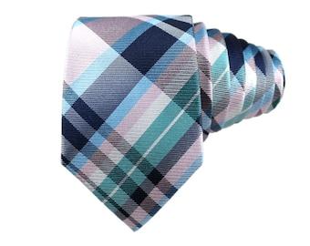 Light Pink Plaid Silk Slim Modern Tie