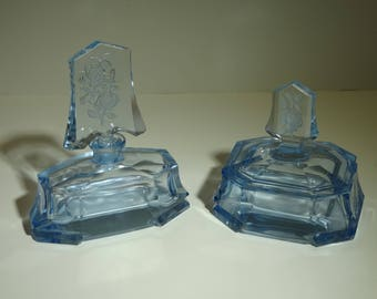 Vintage ICE BLUE Perfume & Powder VANITY Set
