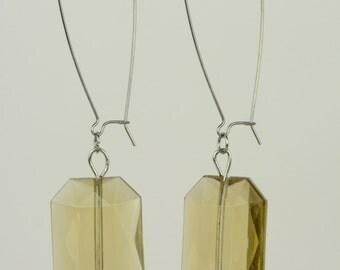 RR#6 - Olive Long Hooks Drop Earrings