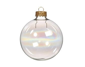 Iridescent Glass Ball Christmas Bauble Ornaments - Christmas Decorations or Wedding Favours - Choice of Sizes