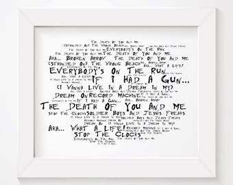 Noir Paranoiac NOEL GALLAGHER Art Print Typography Lyrics Poster - Signed & Numbered Limited Edition Unframed 10x8 Inch Album Wall Poster